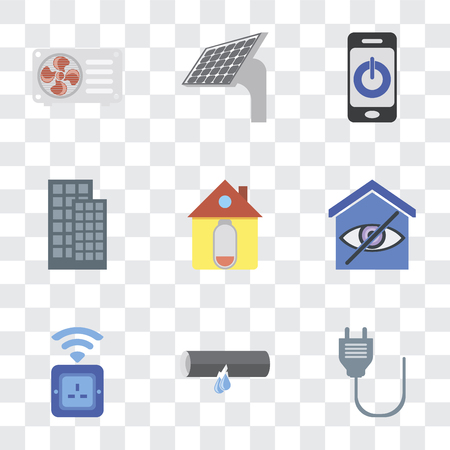 Set Of 9 simple transparency icons such as Plug, Leak, Socket, Smart home, Home, Smartphone, Panel, Air conditioner, can be used for mobile, pixel perfect vector icon pack on transparent Imagens - 111927030