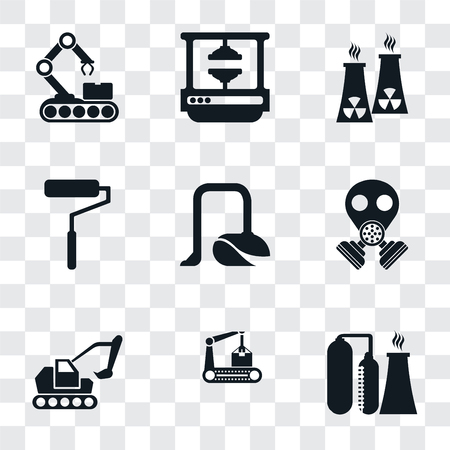 Set Of 9 simple transparency icons such as Refinery, Conveyor, Excavator, Gas mask, Vacuum, Roller, Nuclear plant, Machine press, can be used for mobile, pixel perfect vector icon pack on