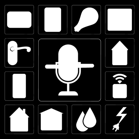 Set Of 13 simple editable icons such as Voice control, Power, Water, Garage, Home, Socket, Mobile, Doorknob on black background