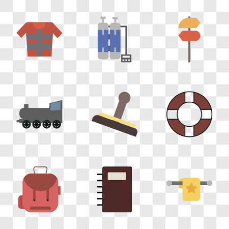 Set Of 9 simple transparency icons such as Towel, Notebook, Backpack, Lifebuoy, Stamp, Railway, Pointer, Oxygen tank, Lifejacket, can be used for mobile, pixel perfect vector icon pack on transparent