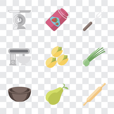Set Of 9 simple transparency icons such as Rolling pin, Pear, Bowl, Chives, Pistachio, Mixer, Fork, Jam, Scale, can be used for mobile, pixel perfect vector icon pack on transparent background