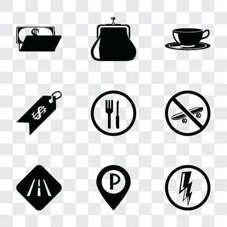 Set Of 9 simple transparency icons such as Electricity, Parking, Road, Skateboard, Restaurant, Price, Coffee cup, Purse, Wallet, can be used for mobile, pixel perfect vector icon pack on transparent