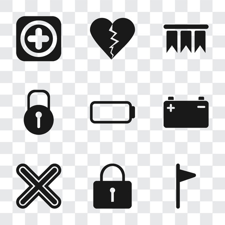 Set Of 9 simple transparency icons such as Flag, Locked, Multiply, Battery, Bookmark, Dislike, Add, can be used for mobile, pixel perfect vector icon pack on transparent background Stockfoto - 111927040