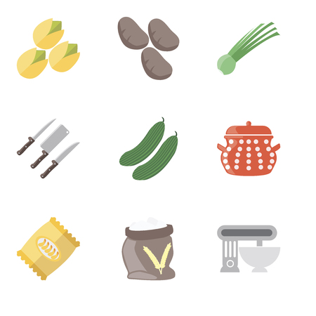 Set Of 9 simple editable icons such as Mixer, Flour, Chips, Pot, Cucumber, Knives, Chives, Potatoes, Pistachio, can be used for mobile, pixel perfect vector icon pack