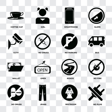 Set Of 16 icons such as No plug, Restroom, Jeans, drugs, fire, Coffee cup, Cctv, Wallet, parking on transparent background, pixel perfect