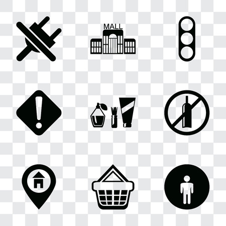 Set Of 9 simple transparency icons such as Restroom, Shopping basket, Location, No alcohol, Cosmetics, Warning, Traffic light, Mall, plug, can be used for mobile, pixel perfect vector icon pack on Illustration