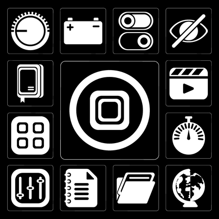 Set Of 13 simple editable icons such as Stop, Worldwide, Folder, Notepad, Controls, Stopwatch, Menu, Video player, Notebook on black background