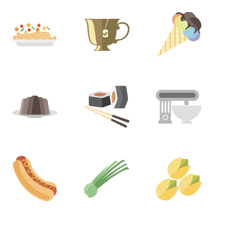 Set Of 9 simple editable icons such as Pistachio, Chives, Hot dog, Mixer, Sushi, Pudding, Ice cream, Tea, Risotto, can be used for mobile, pixel perfect vector icon pack