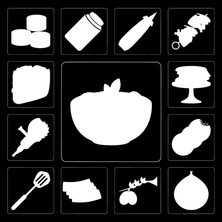 Set Of 13 simple editable icons such as Pasta, Fig, Olives, Bacon, Spatula, Cookies, Grinder, Pancakes, Taco on black background Çizim