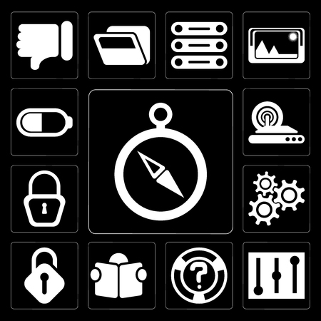 Set Of 13 simple editable icons such as Compass, Controls, Help, Reading, Unlocked, Settings, Locked, Wireless internet, Battery on black background