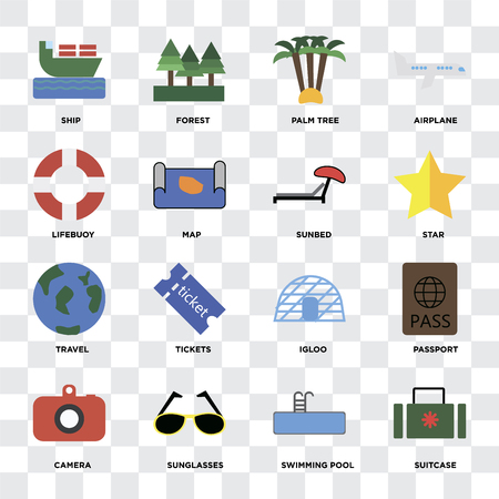 Set Of 16 icons such as Suitcase, Swimming pool, Sunglasses, Camera, Passport, Ship, Lifebuoy, Travel, Sunbed on transparent background, pixel perfect Illustration