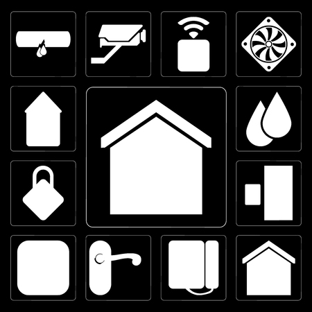 Set Of 13 simple editable icons such as Smart home, Dial, Doorknob, Meter, Doorbell, Locking, Water, Automation on black background