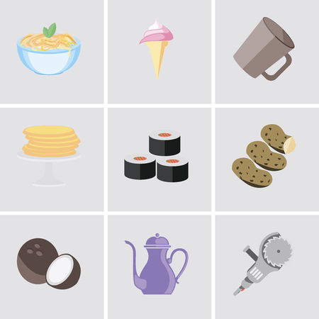 Set Of 9 simple editable icons such as Grinder, Teapot, Coconut, Potatoes, Sushi, Pancakes, Mug, Ice cream, Pasta, can be used for mobile, pixel perfect vector icon pack