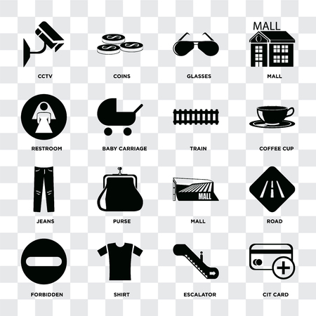 Set Of 16 icons such as Cit card, Escalator, Shirt, Forbidden, Road, Cctv, Restroom, Jeans, Train on transparent background, pixel perfect 일러스트
