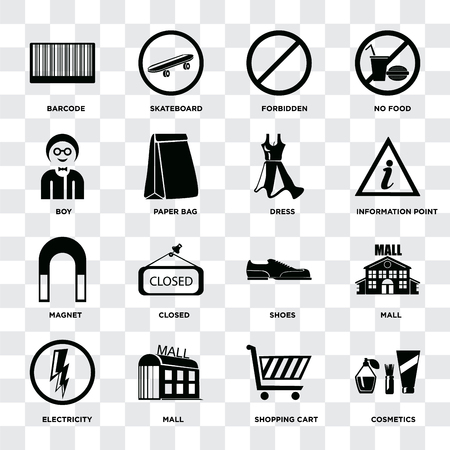Set Of 16 icons such as Cosmetics, Shopping cart, Mall, Electricity, Barcode, Boy, Magnet, Dress on transparent background, pixel perfect Illustration