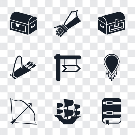 Set Of 9 simple transparency icons such as Book, Caravel, Bow and arrow, Necklace, Quiver, Chest, Gauntlet, can be used for mobile, pixel perfect vector icon pack on transparent background