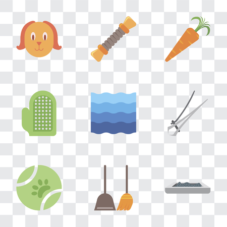 Set Of 9 simple transparency icons such as Litter box, Dustpan, Ball, Nail trimmer, Water, Glove, Carrot, Rope, Dog, can be used for mobile, pixel perfect vector icon pack on transparent background Illustration