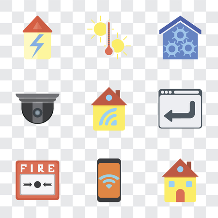 Set Of 9 simple transparency icons such as Home, Mobile, Fire alarm, Browser, Security camera, Smart home, Temperature, can be used for mobile, pixel perfect vector icon pack on
