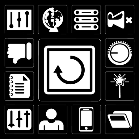 Set Of 13 simple editable icons such as Restart, Folder, Smartphone, User, Controls, Magic wand, Notepad, Volume control, Dislike on black background Illustration