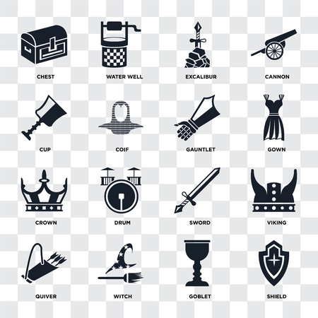 Set Of 16 icons such as Shield, Goblet, Witch, Quiver, Viking, Chest, Cup, Crown, Gauntlet on transparent background, pixel perfect