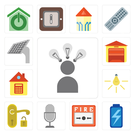 Set Of 13 simple editable icons such as Smart, Battery, Fire alarm, Voice control, Handle, Light, Home, Garage, Panel, web ui icon pack