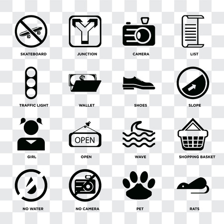 Set Of 16 icons such as Rats, Pet, No camera, water, Shopping basket, Skateboard, Traffic light, Girl, Shoes on transparent background, pixel perfect