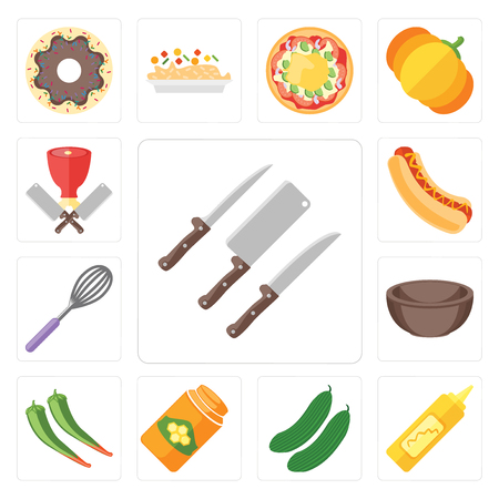 Set Of 13 simple editable icons such as Knives, Mustard, Cucumber, Honey, Pepper, Bowl, Whisk, Hot dog, Butcher, web ui icon pack