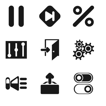 Set Of 9 simple editable icons such as Switch, Upload, Speaker, Settings, Exit, Controls, Percent, Skip, Pause, can be used for mobile, pixel perfect vector icon pack