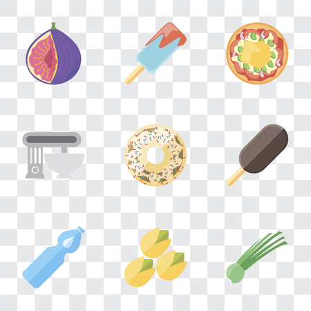 Set Of 9 simple transparency icons such as Chives, Pistachio, Water, Ice cream, Doughnut, Mixer, Pizza, Fig, can be used for mobile, pixel perfect vector icon pack on transparent