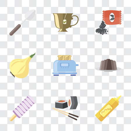 Set Of 9 simple transparency icons such as Mustard, Sushi, Ice cream, Pudding, Toaster, Onion, Seeds, Tea, Spoon, can be used for mobile, pixel perfect vector icon pack on transparent background