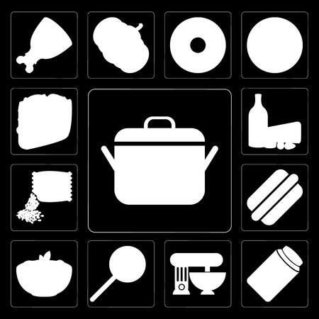 Set Of 13 simple editable icons such as Pot, Jam, Mixer, Jawbreaker, Pasta, Hot dog, Seeds, Dairy, Taco on black background Standard-Bild - 111927079