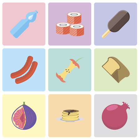 Set Of 9 simple editable icons such as Pomegranate, Pancakes, Fig, Bread, Apple, Sausage, Ice cream, Sushi, Water, can be used for mobile, pixel perfect vector icon pack