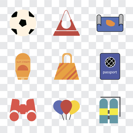 Set Of 9 simple transparency icons such as Aqualung, Balloon, Binoculars, Passport, Bag, Sun protection, Map, Purse, Ball, can be used for mobile, pixel perfect vector icon pack on transparent Illustration