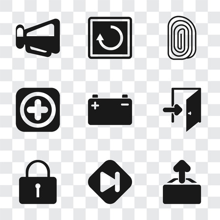 Set Of 9 simple transparency icons such as Upload, Skip, Locked, Exit, Battery, Add, Fingerprint, Restart, Megaphone, can be used for mobile, pixel perfect vector icon pack on transparent background