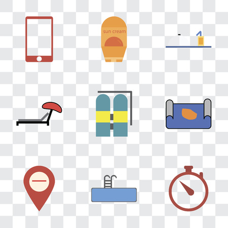 Set Of 9 simple transparency icons such as Time, Swimming pool, Map, Aqualung, Sunbed, Room service, Sun protection, Phone, can be used for mobile, pixel perfect vector icon pack on transparent Ilustrace