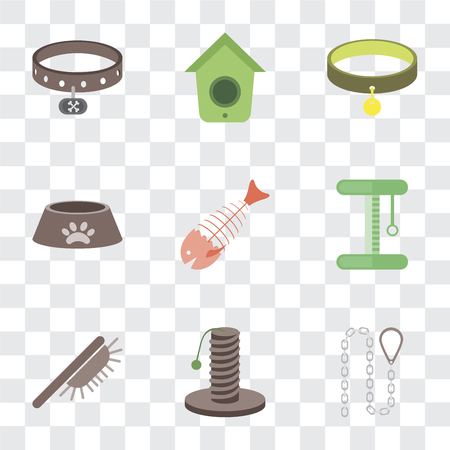 Set Of 9 simple transparency icons such as Leash, Scratching, Brush, Platform, Fish bone, Dog food, Collar, Birdhouse, can be used for mobile, pixel perfect vector icon pack on transparent Illustration