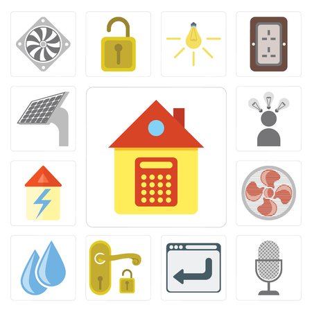 Set Of 13 simple editable icons such as Home, Voice control, Browser, Handle, Water, Fan, Smart, Panel, web ui icon pack