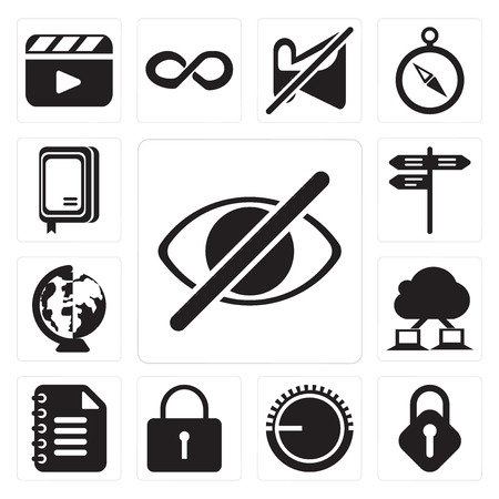 Set Of 13 simple editable icons such as Hide, Lock, Volume control, Locked, Notepad, Cloud computing, Worldwide, Street, Notebook, web ui icon pack