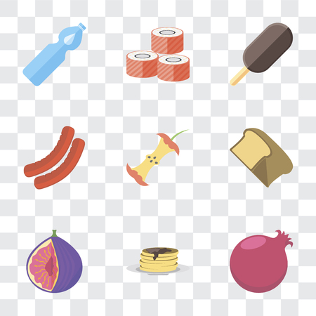 Set Of 9 simple transparency icons such as Pomegranate, Pancakes, Fig, Bread, Apple, Sausage, Ice cream, Sushi, Water, can be used for mobile, pixel perfect vector icon pack on transparent background
