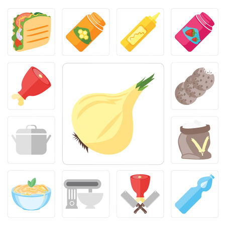 Set Of 13 simple editable icons such as Onion, Water, Butcher, Mixer, Pasta, Flour, Pot, Cookies, Ham, web ui icon pack