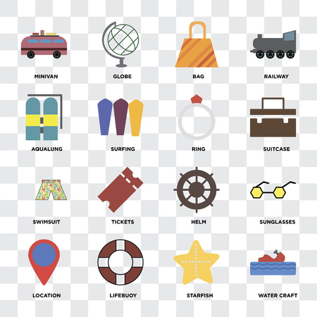 Set Of 16 icons such as Water craft, Starfish, Lifebuoy, Location, Sunglasses, Minivan, Aqualung, Swimsuit, Ring on transparent background, pixel perfect