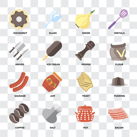 Set Of 16 icons such as Bacon, Pot, Salt, Coffee, Pudding, Doughnut, Knives, Sausage, Pepper on transparent background, pixel perfect Illustration