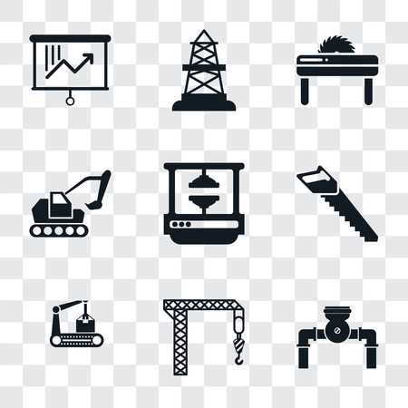 Set Of 9 simple transparency icons such as Pump, Crane, Conveyor, Saw, Machine press, Excavator, Oilfield, Planning, can be used for mobile, pixel perfect vector icon pack on transparent
