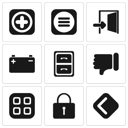 Set Of 9 simple editable icons such as Back, Locked, Menu, Dislike, Archive, Battery, Exit, Add, can be used for mobile, pixel perfect vector icon pack