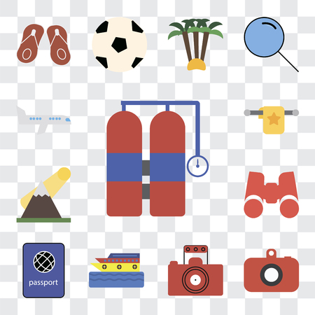Set Of 13 transparent editable icons such as Aqualung, Camera, Photography, Cruise, Passport, Binoculars, Mountains, Towel, Airplane, web ui icon pack, transparency set
