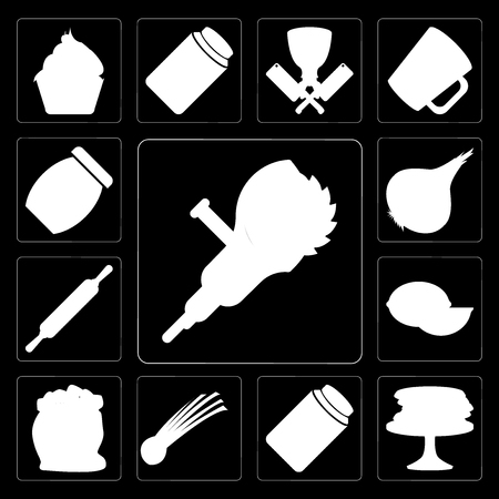 Set Of 13 simple editable icons such as Grinder, Pancakes, Pickles, Chives, Flour, Lime, Rolling pin, Onion, Jam on black background