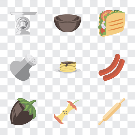 Set Of 9 simple transparency icons such as Rolling pin, Apple, Hazelnut, Sausage, Pancakes, Salt, Taco, Bowl, Scale, can be used for mobile, pixel perfect vector icon pack on transparent background