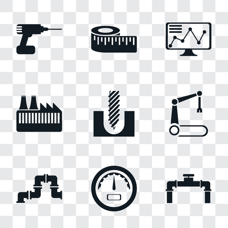 Set Of 9 simple transparency icons such as Pipe, Gauge, Robotic arm, Drill, Factory, Stock, Measure, can be used for mobile, pixel perfect vector icon pack on transparent background