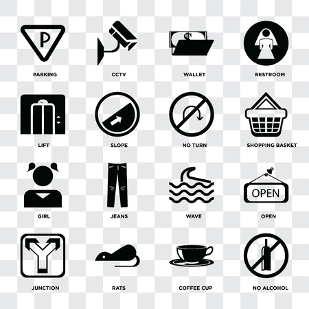 Set Of 16 icons such as No alcohol, Coffee cup, Rats, Junction, Open, Parking, Lift, Girl, turn on transparent background, pixel perfect Imagens - 111927113