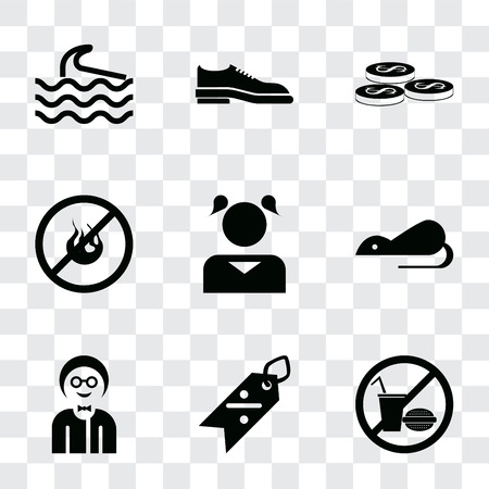 Set Of 9 simple transparency icons such as No food, Discount, Boy, Rats, Girl, fire, Coins, Shoes, Wave, can be used for mobile, pixel perfect vector icon pack on transparent background